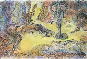2009 - 41x26 - Pastel, encre de chine et aquarelle
