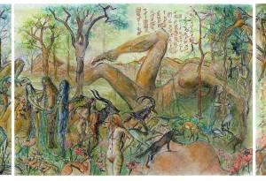 2007 - 128x42 - Pastel, encre de Chine, aquarelle