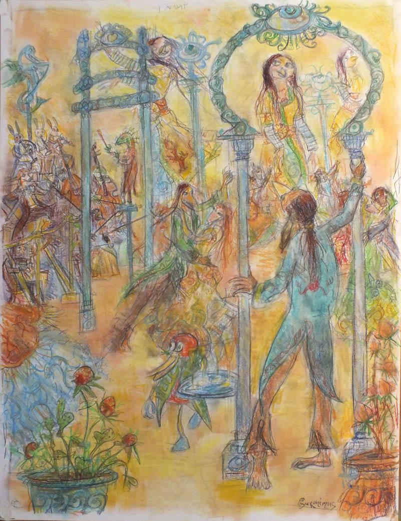 Un Bal - pastel et crayons - 50x65
