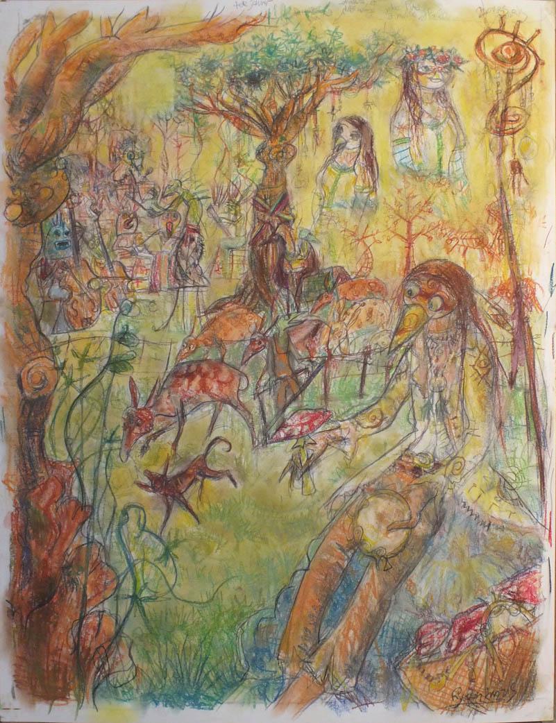 Scène aux Champs - pastel et crayons - 50x65