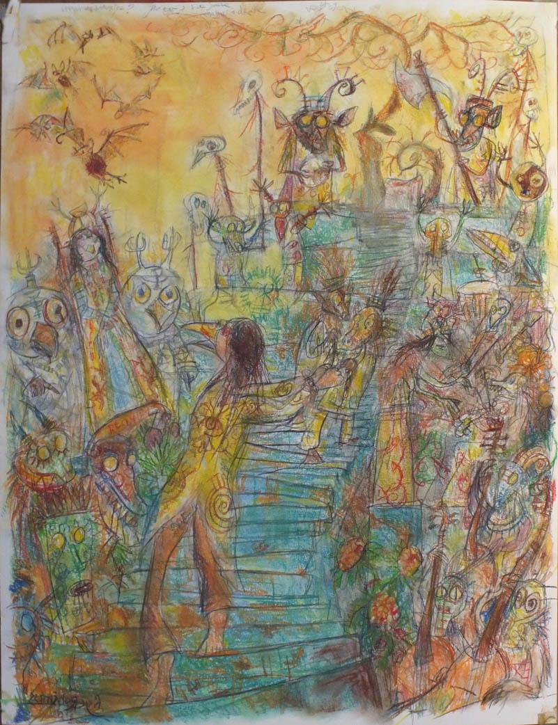 Marche au Supplice - pastel et crayons - 50x65
