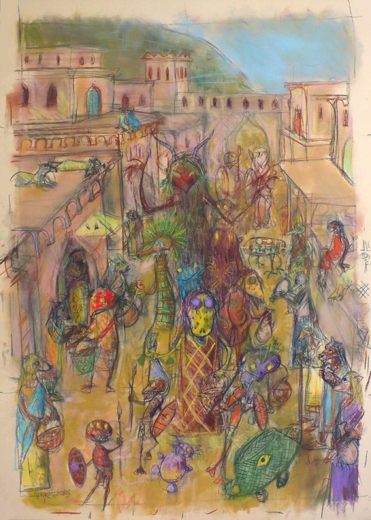 2016 - 50x70 - Pastel et crayons